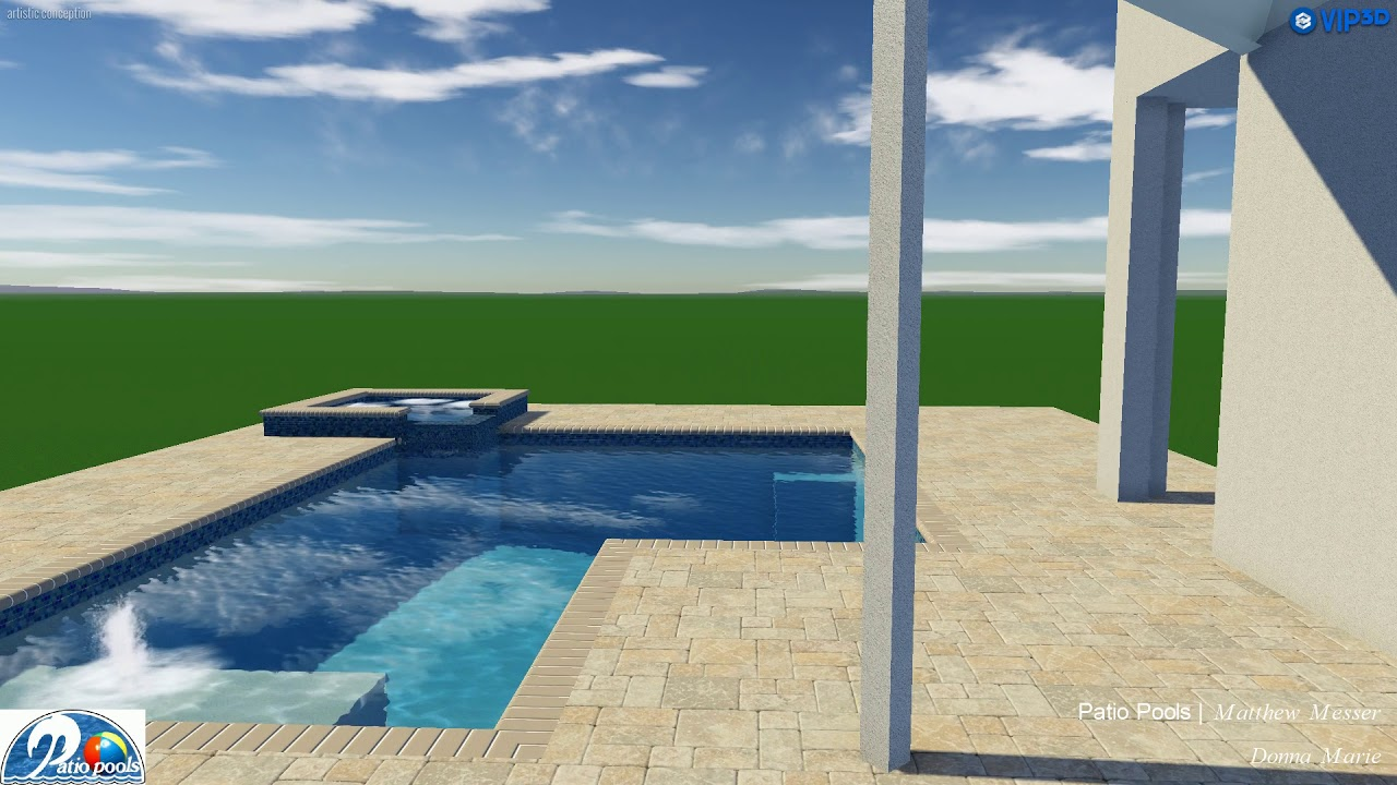 L Shaped Swimming Pool Spa With Sun Shelf By Patio Pools Youtube