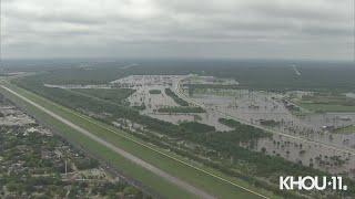 Houston flooding update | Aerial view of Barker, Addicks reservoirs