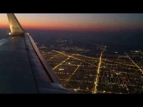 Landing At Chicago O Hare International Airport At Night