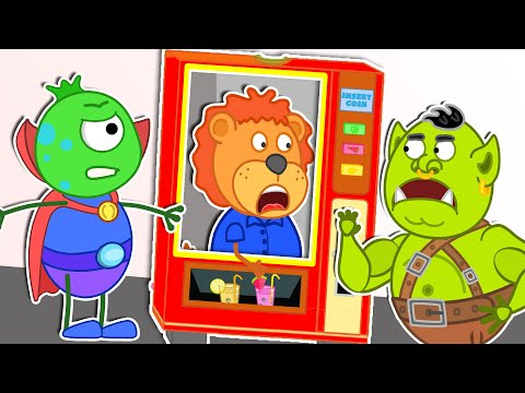 Lion Family   Funny Toys Stories With Costumes And Vending Machine   Cartoon For Kids