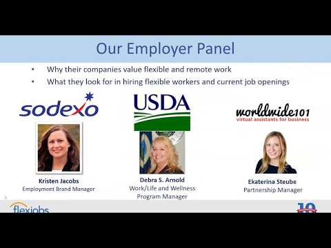 FlexJobs Webinar: Flexible and Remote Jobs with Sodexo, the USDA, and Worldwide101