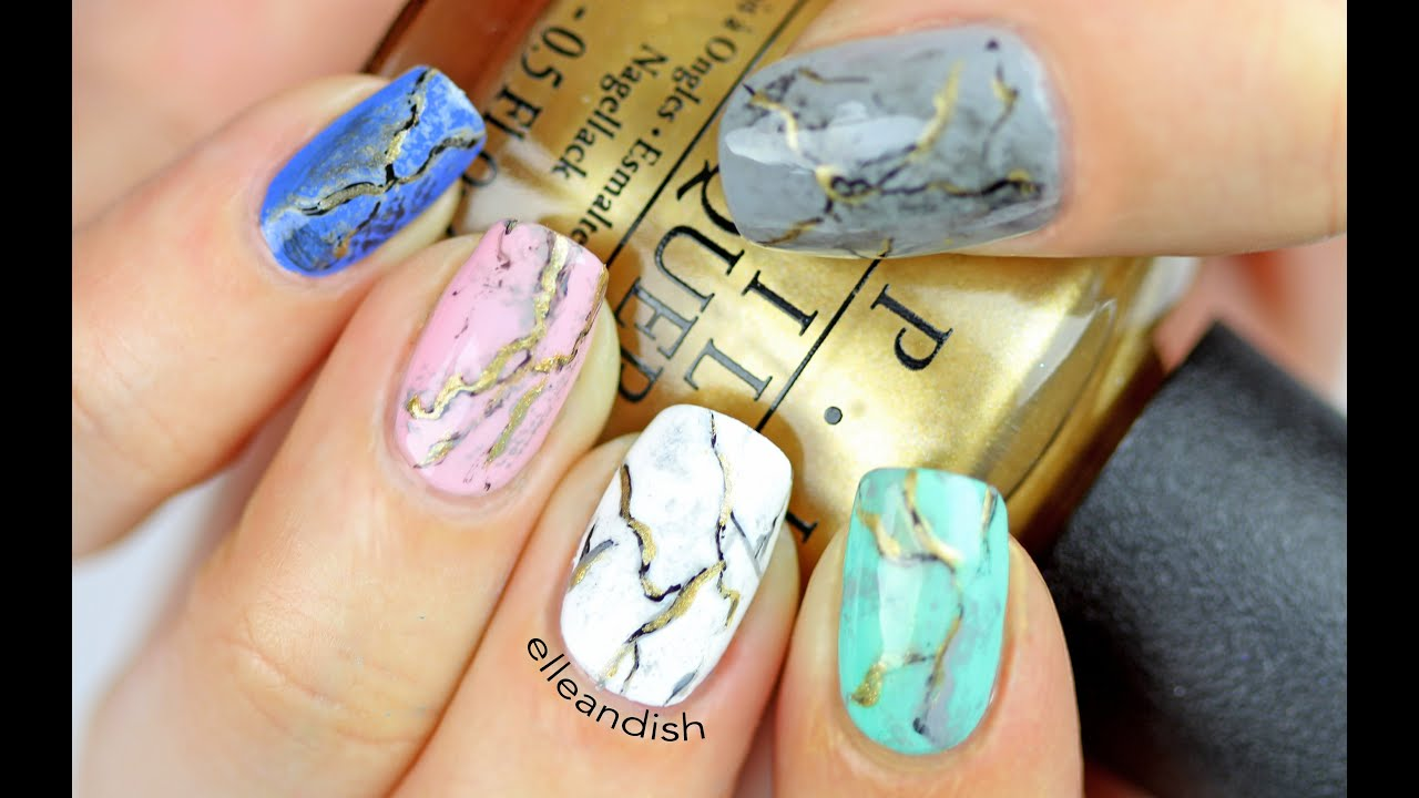 ☆ GOLD MARBLE NAILS ☆ - YouTube