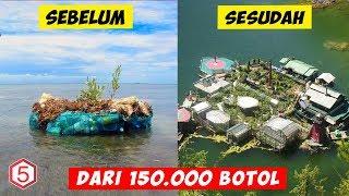 Selama 7 Tahun Pria ini Bikin Pulau Pribadi Dari 150 Ribu Botol Plastik Bekas