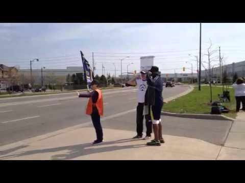 Teachers striking outside Mississauga Secondary School. Video by Bryon Johnson