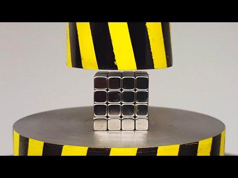 EXPERIMENT MINI HYDRAULIC PRESS 100 TON vs 64 Neodymium Magnet Cube