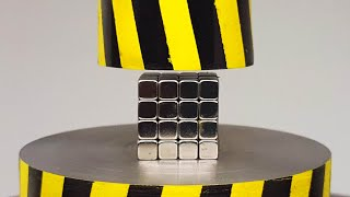 EXPERIMENT MINI HYDRAULIC PRESS 100 TON vs 64 Neodymium Magnet Cube