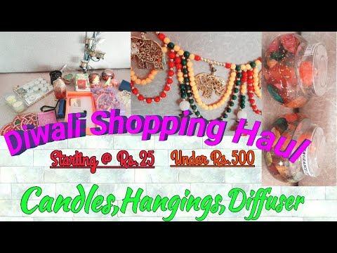 DIWALI Home Decor Shopping Haul | Candles,Rangoli,Decor Under Rs.500 | Amazon Great Indian Sale Haul