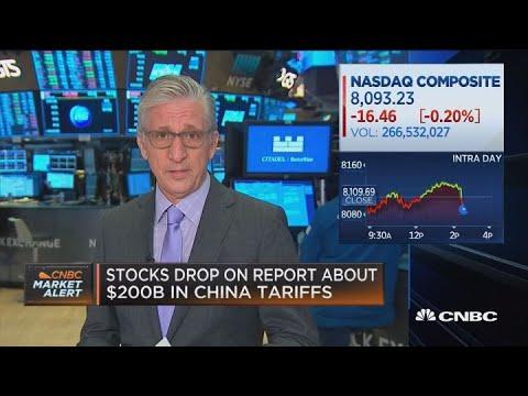 Stocks drop on report of $200 billion in new China tariffs