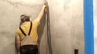 Шлифовка бетонных стен с пылеудалением системой шлифования от Хилти.
