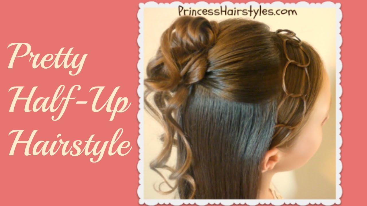 formal half updo hairstyle cascading curls and chains