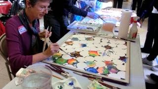Collaborative watercolor painting  #1.  SCVWS - Santa Clara Valley Watercolor Society party