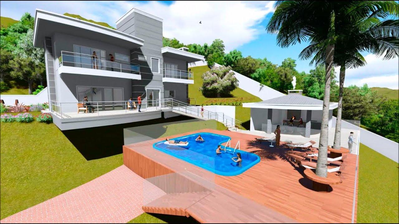 Arquitetura de uma Casa com Piscina anexa à Área de Festas #0D73BE 1440 806