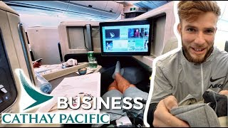 Cathay Pacific A350 BUSINESS Class Lounge and Flight REVIEW