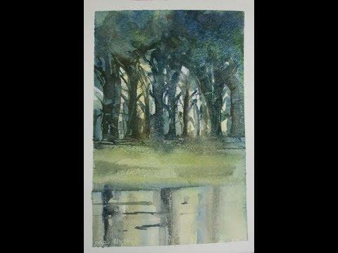 bomen aan de oever naar John Blockley