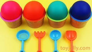 4 Colors Play Doh Ice Cream Cups Frozen Kinder Joy HELLO KITTY Shimmer and Shine Kinder Suprise Egg