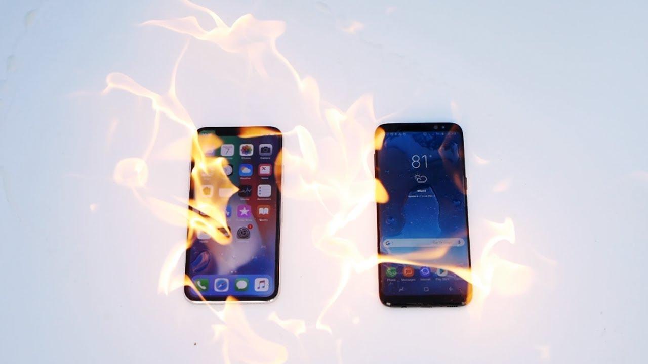 iPhone X vs Samsung Galaxy S8 Fire Burn Test!