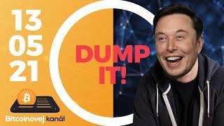 Elon Musk poslal Bitcoin dolů 📉   Vitalik Buterin způsobil crash psích tokenů 🐶 - CEx 13/05/2021