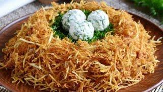 Салат гнездо глухаря/Такой салат украсить ваш стол/Оссон ва мазали салат