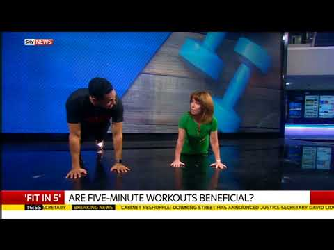 Fit In 5.. Kay Burley does press-ups on Sky News