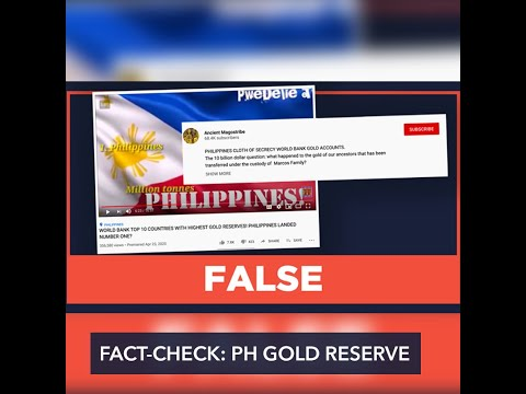 FALSE: Philippines is country with highest gold reserves