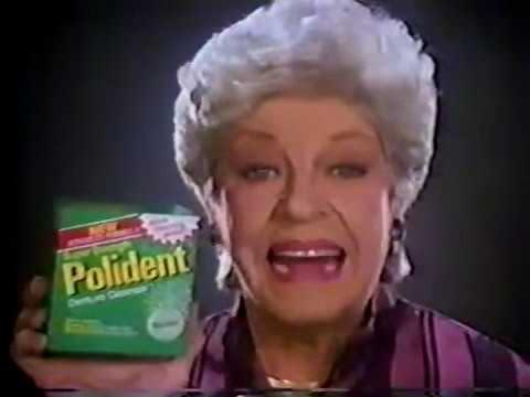 Polident ad w/Martha Raye, 1986