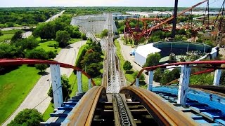 American Eagle (red side) front seat on-ride HD POV Six Flags Great America