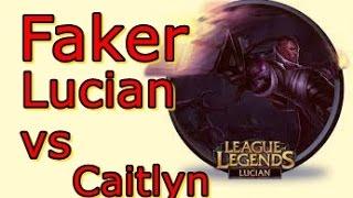 LOL Pro - Faker Lucian (AD) vs Caitlyn - Korea SoloQ - Highlights