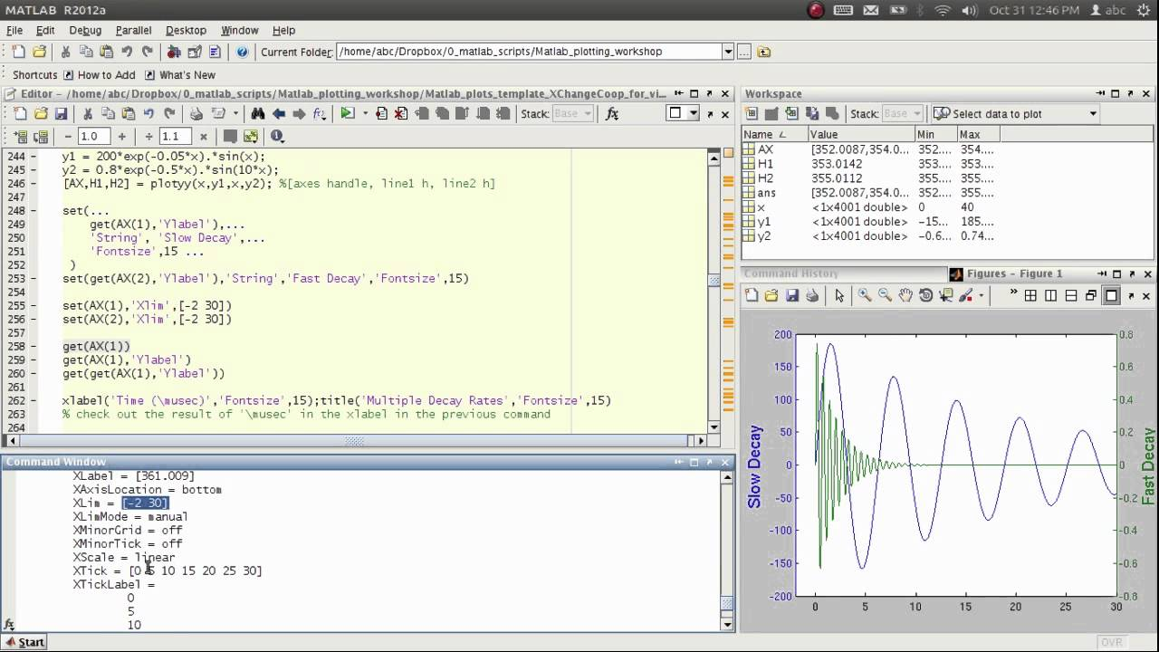 how to add horizontal axis to a plot in matlab