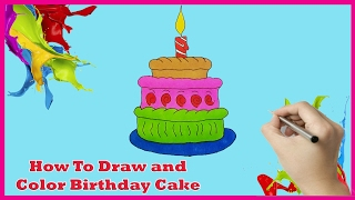 How To Draw and Color Birthday Cake  A 3 Tiered Cake Coloring