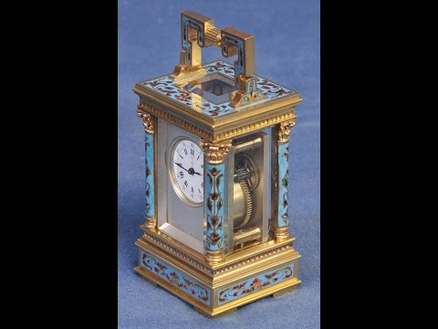 c.1895 French Miniature Champlevee Carriage Clock.