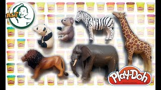 Learn zoo animal name with playdoh and Tomica animal figure