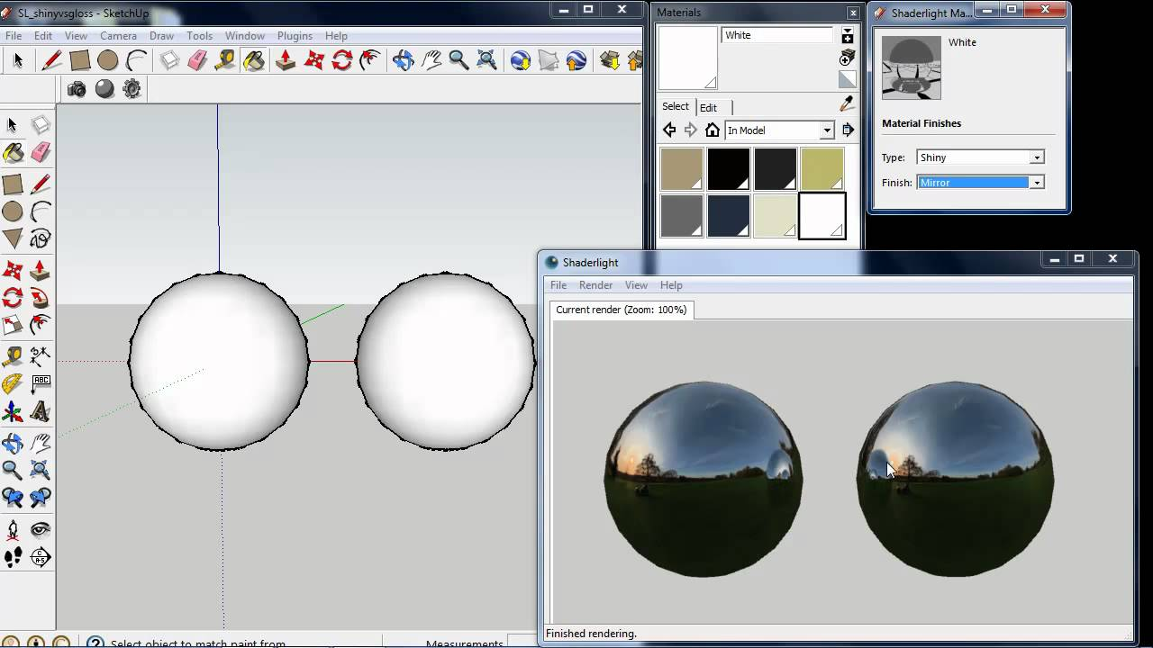 Glossy and shiny material types in shaderlight for for Mirror in sketchup