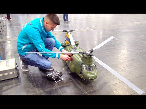 SUPER BIG RC HELI BICOPTER CHINOOK I 2. PLACE ON TV I Boeing-Vertol CH-47 I INTERMODELLBAU  I