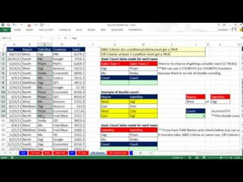 Highline Excel 2013 Class Video 11: Calculations With OR Criteria: COUNTIFS, DCOUNTA, SUMIFS, DSUM