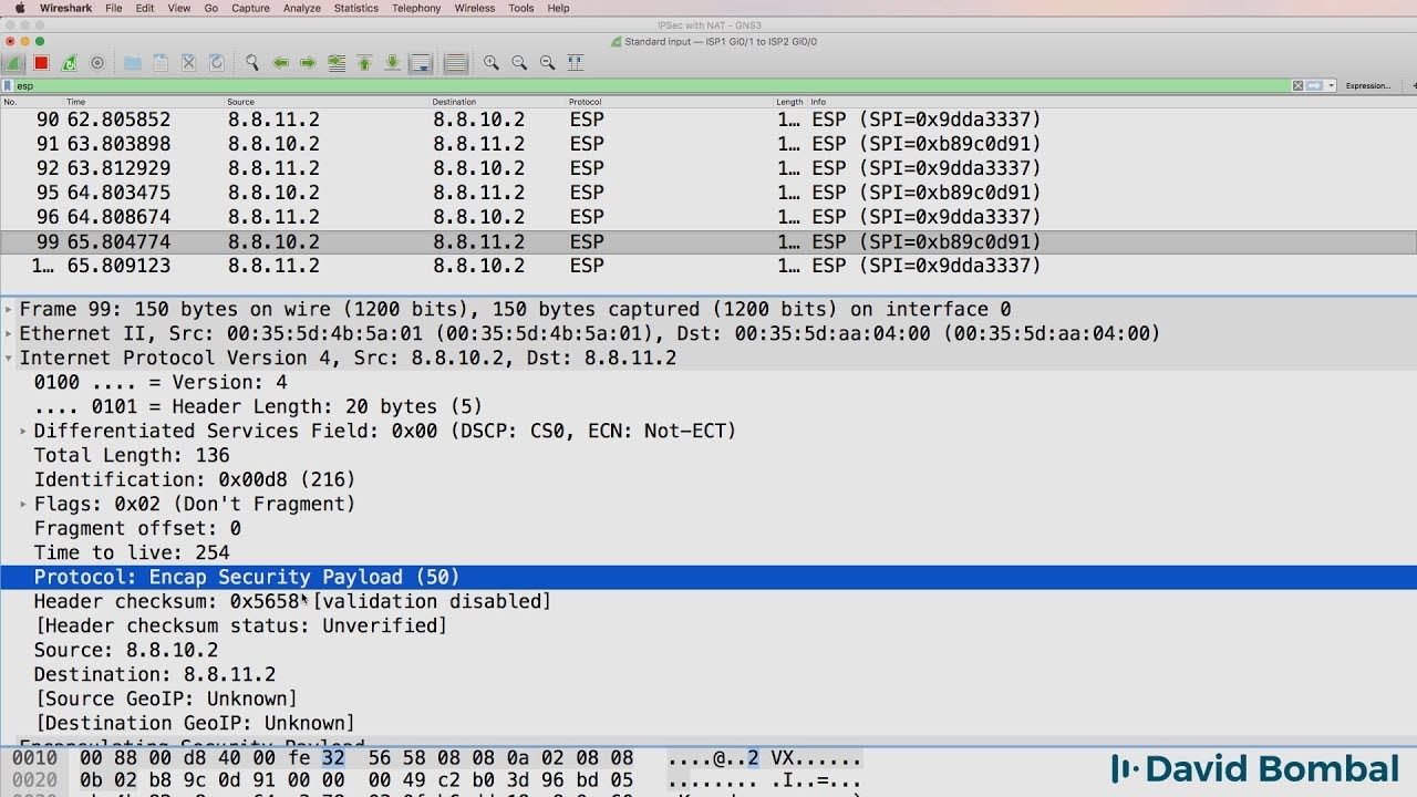 GNS3 Labs: IPsec VPN with NAT across BGP Internet routers: Wireshark  captures  Answers Part 2