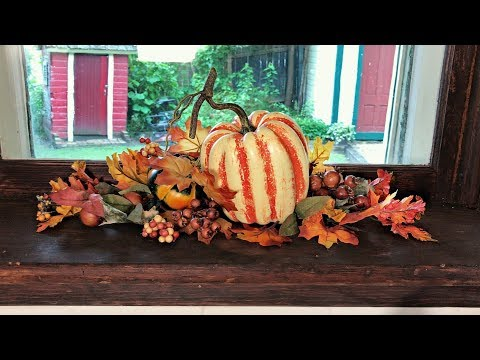 Fall Kitchen Window Decorating - Easy Fall Floral - Rustic Country Autumn