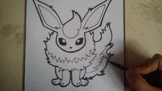 COMO DIBUJAR A FLAREON - POKEMON / how to draw flareon - pokemon