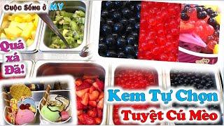 ❀//Vlog 224// Tiệm Kem Tự Chọn Ở Mỹ -  1001 Cách Pha Chế Ly Kem Tuyệt Hảo - Thích Ăn Kem