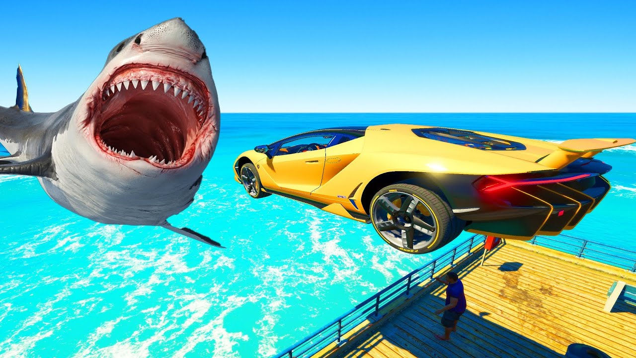 GTA 5 Cars Jumping Into Water