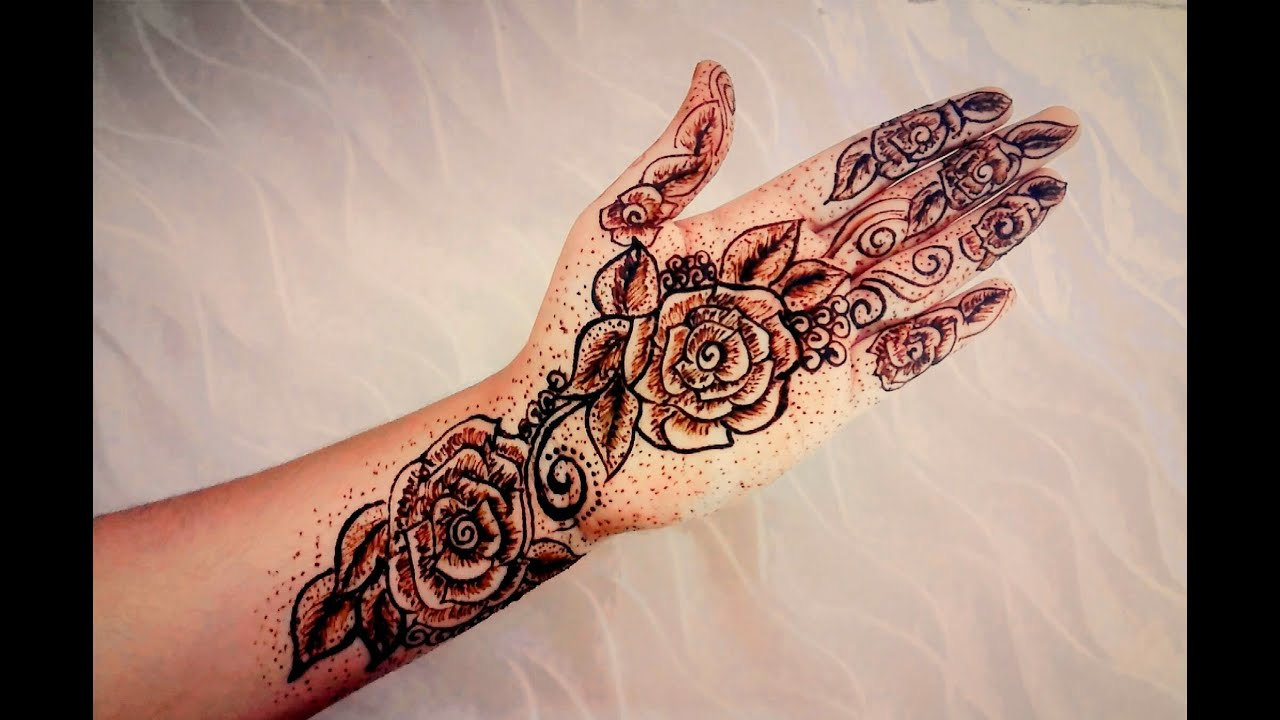 Mehndi Designs Rose : Rose henna mehndi design tattoo pattern for beginners naush