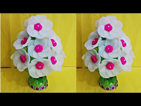 Foam made beautiful flowers pot/DIY Plastic bottles use flowers pot