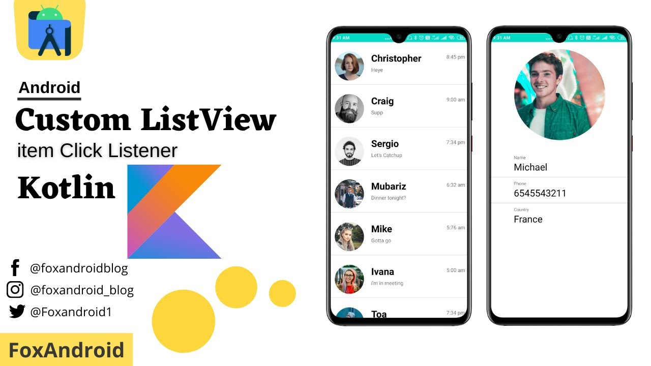 How to Custom ListView with item click using Kotlin in Android  for Beginners