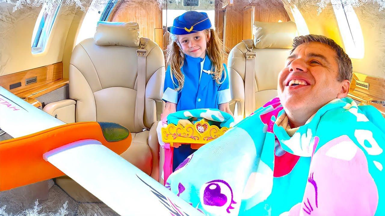 Nastya berpura-pura menjadi pramugari di pesawat