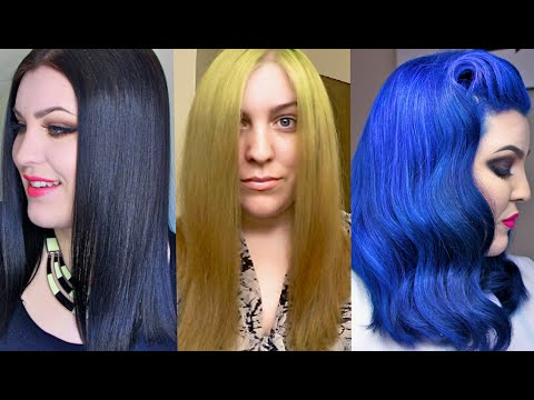HAIR TRANSFORMATION!!! BOX-DYE BLACK to BLONDE to BLUE - The Healthy Way! (At Home)