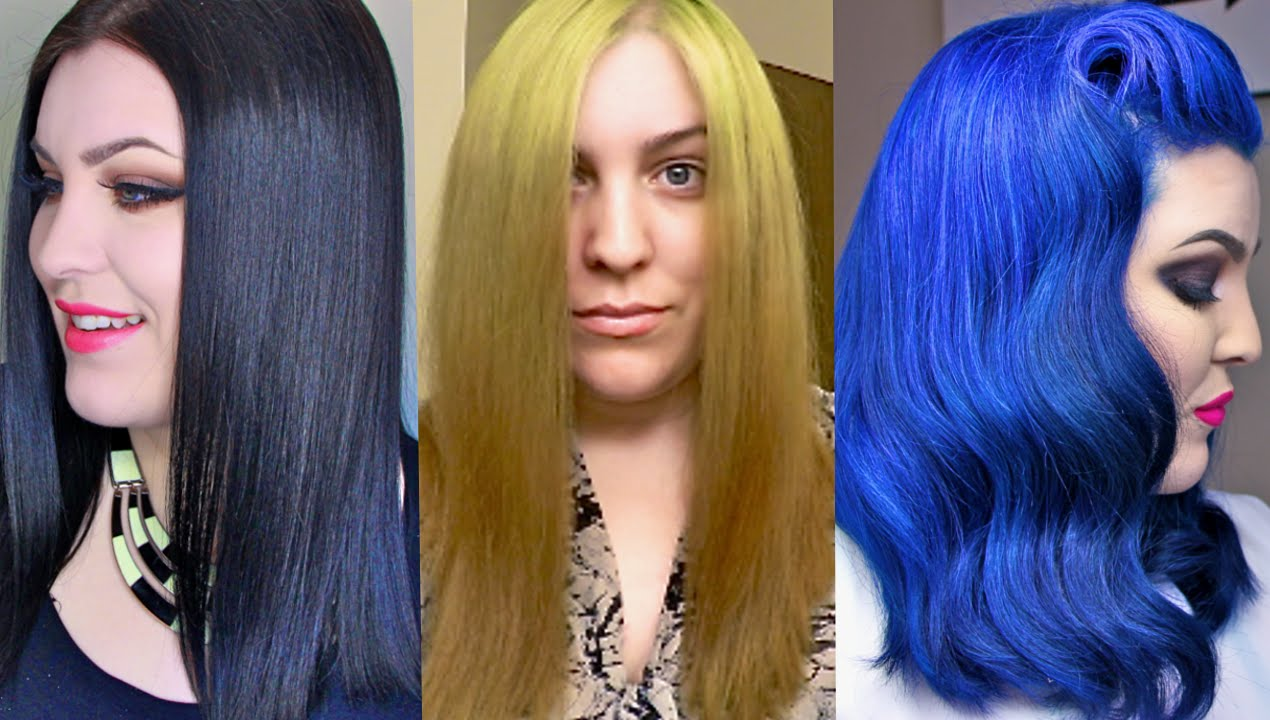Hair Transformation Box Dye Black To Blonde To Blue