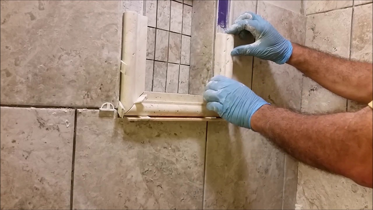 How To Install A Shower Niche Frame Using Traventine Chair