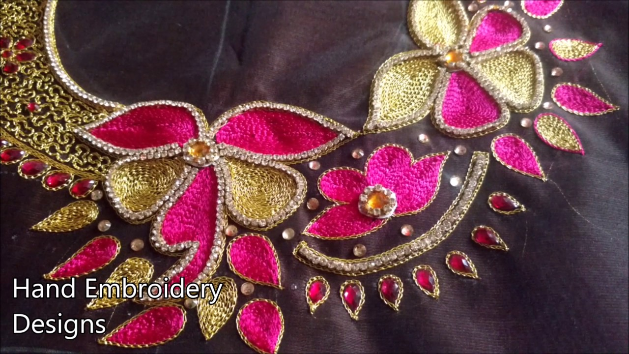 Maggam Work Blouse Designs Simple Hand Embroidery Designs For Beginners Hand Embroidery Designs Youtube,Hair Design For Wedding Simple