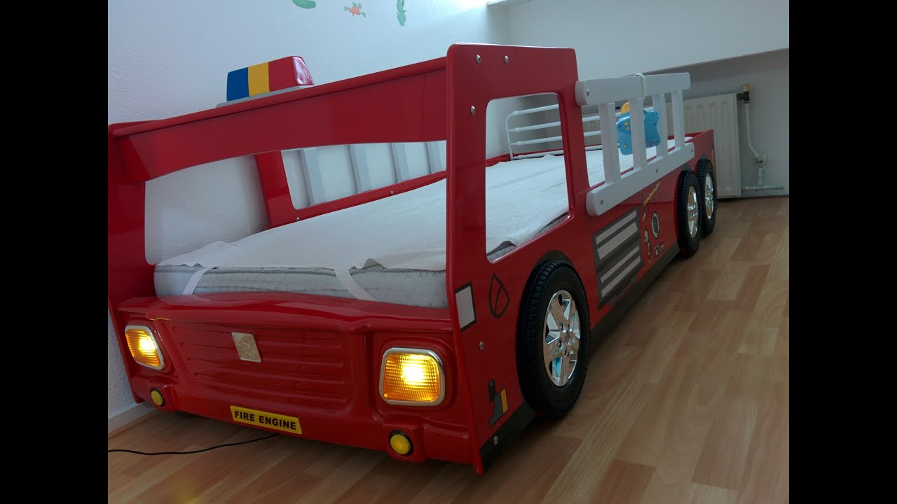 CABINO Brandweerauto Bed   FIRE TRUCK BED With Lamp And 3D Wheels For Kids    YouTube