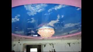 Двухуровневый натяжной потолок(п. Эльбан. Зал. 30кв.м. Криволинейный переход - 10 пог.м. Декоративное полотно