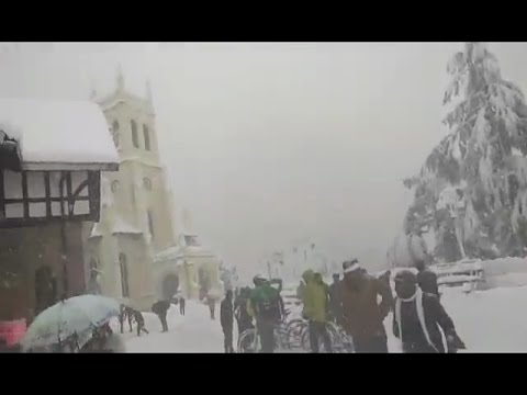 Snowfall in Simla Mall Road  India January 2017